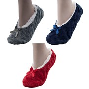 Ladies Slipper Socks With Fleece Lining & Bow (SK456A)